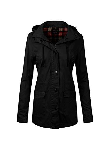 Instar Mode Women's Anorak Safari Hoodie Jacket up to Plus Size Black S