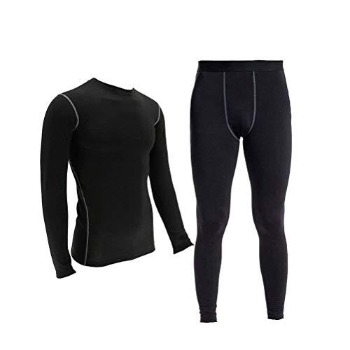 (Men's Thermal Underwear Set Compression Lightweight Wicking Fleece Lined Long Johns 2XL Black )