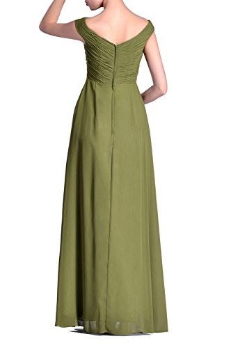 Long Occasional Special A Straps Chiffon Bridesmaid White neck Dress Natrual line V w841OB