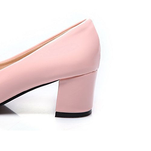 BalaMasa Womens Chunky Heels Low-Cut Uppers Pull-On Urethane Pumps-Shoes Pink EFQFEVtQF