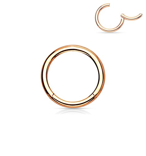 16G 6mm Surgical Steel Hinged Easy Use Seamless Hoop Body Piercing Ring, Rose Gold Tone ()