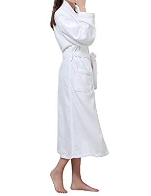 LAPAYA Women's Terry Bathrobe Soft Plain Hotel Long Sleeve Long Cotton Bathrobe