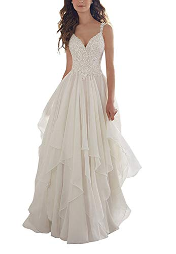 Ieuan Women's Chiffon A-Line V-Neck Lace Appliques Bodice Simple Beach Wedding Dress White