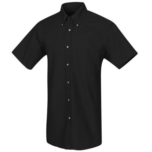 Red Kap Men's RK Poplin Dress Shirt, Black, SS L (Shirt Kap Red Poplin Work)