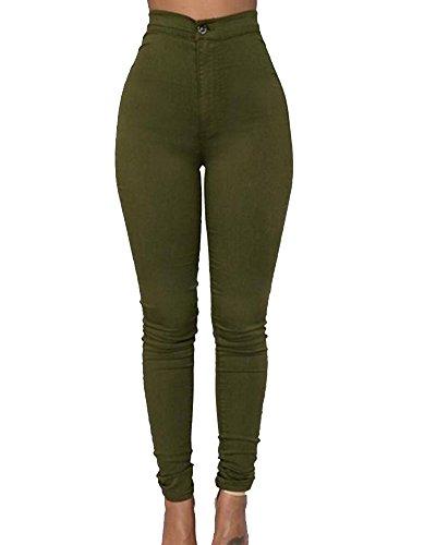 Skinny Donne Alta Casuale Denim Elastico Verde Leggings Pantaloni Jeans Vita wwPqF4aB