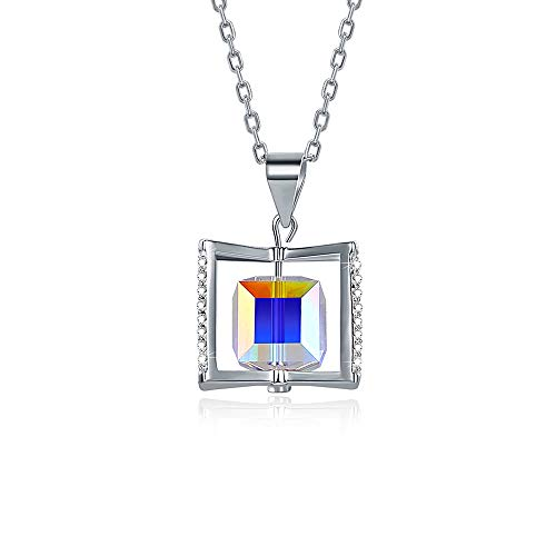 (Bijours Hypoallergenic Sterling Silver Cube Necklace - 925 Sterling Silver and Crystal from Swarovski Fine Jewelry Hypoallergenic - Perfect for Gift)