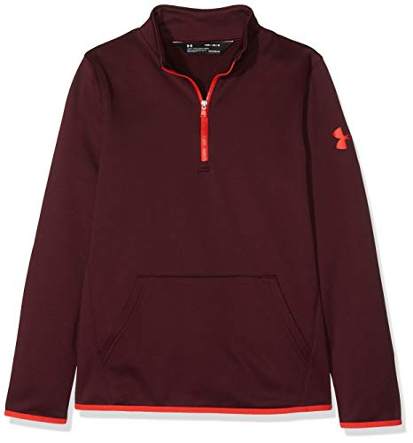 Under Armour Boys Armour Fleece 1/2 Zip, Dark Maroon (601)/Radio Red, Youth X-Large