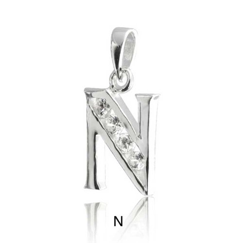 Bling Jewelry 925 Sterling Silver Bodoni Outline Bold Alphabet Letter Pendant N