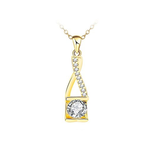 Daesar Gold Plated Necklace Womens Gold Square Round Cubic Zirconia Pendant Necklaces for Womens 0.8x2.9CM
