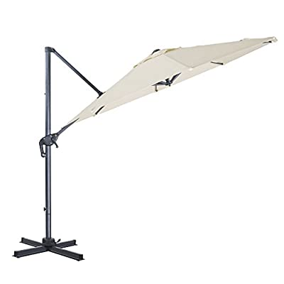 FurniTure Hanging Umbrella 10' Patio Umbrella Outdoor Cantilever Umbrella 360 Rotation Garden Umbrella 8 Steels Ribs Polyester Cross Base, Milk White - NEW RELEASE: Hanging umbrella with four lock position on the pole for you to easily adjust your umbrella angle. NEW DESIGN: Cantilever umbrella with 360 degree rotation by step on the foot pedal. DURABLE FRAME: 10 ft patio umbrella is built with stainless steel against rust, corrosion, chipping and peeling. - shades-parasols, patio-furniture, patio - 31ydEkO7SoL. SS400  -
