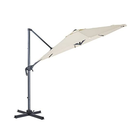 FurniTure Hanging Umbrella 10' Patio Umbrella Outdoor Cantilever Umbrella 360 Rotation Garden Umbrella 8 Steels Ribs Polyester Cross Base, Milk White - NEW RELEASE: Hanging umbrella with four lock position on the pole for you to easily adjust your umbrella angle. NEW DESIGN: Cantilever umbrella with 360 degree rotation by step on the foot pedal. DURABLE FRAME: 10 ft patio umbrella is built with stainless steel against rust, corrosion, chipping and peeling. - shades-parasols, patio-furniture, patio - 31ydEkO7SoL. SS570  -