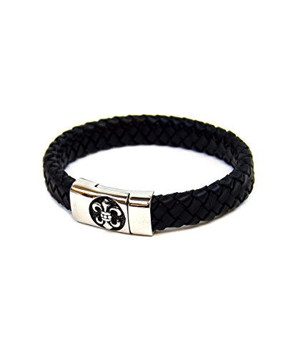 (UrbanMixNY Mens Stainless Steel Fleur De Lis Simple Braided Cord Bracelet (Black))