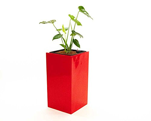 Blumenkübel Fiberglas säule 30x30x90cm hochglanz rot