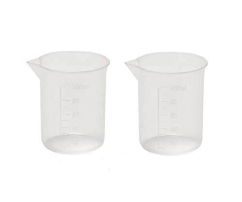 6PCS 100ML/3.4oz Empty Reusable Transparent Plastic Laboratory Graduate Beaker Measuring Cup For Scientific Experiment