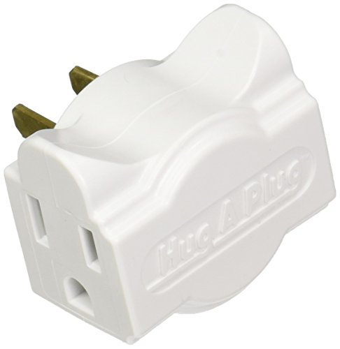 Sides Right Angle - Hug-A-Plug - Dual Outlet Wall Adapter, Twin Pack White