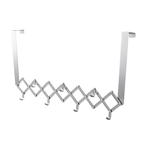 Kes SUS 304 Stainless Steel Foldable Over-The-Door Hook Organizer Rack 7 Hook Polished Finish, (Best Kes Coat Racks)
