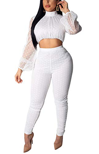 Women 2 Piece Outfits Sets 2019 Clubwear - Long Puff Sleeve Chiffon Polka Dots Crop Top with Bodycon Skinny Long Pants Set Cocktail Wedding Jumpsuit Romper White, Medium