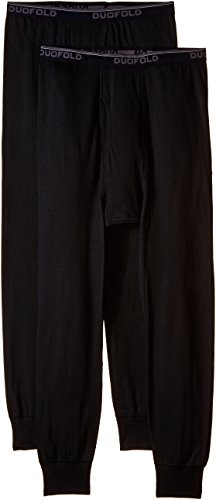 Duofold Men's Mid Weight Wicking Thermal Pant (Pack of 2), Black, Large by Duofold