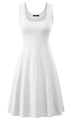 ZJCTUO Damen Ärmelloses Beiläufiges Strandkleid Sommerkleid Tank Kleid  Knielang Weiß 0sz2n4 5068316ce6