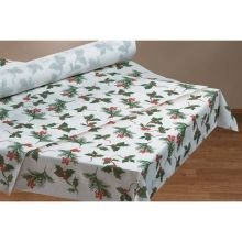 Like Paper Banquet Table Covers - Hoffmaster Seasonal Linen-Like Banquet Roll Winterberry Tablecover, 40 inch x 100 feet - 1 each.