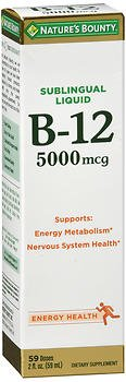 Nature's Bounty Sublingual B-12 5000 MCG Super Strength Natural Berry Flavor - 2 oz, Pack of 6 by Nature's Bounty