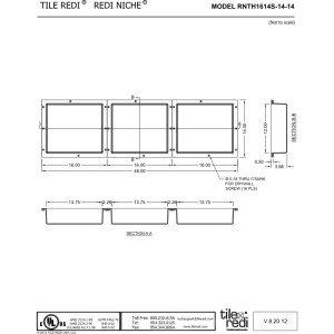 Tile Redi USA RNTH1614S-14-14 Niche Triple Shower Shelf 48'' W x 14'' H Black by Tile Redi USA (Image #1)