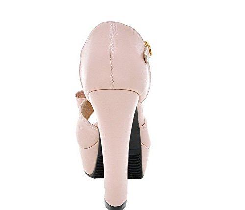 Naisten Korkokengät Toe Peep Sandaalit Vaaleanpunainen Allhqfashion Pu Kiinteä Solki zxqP4w1S