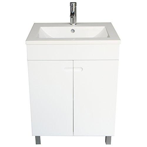 "BATHJOY 24"" White Wood Bathroom Vanity Cabinet with Undermou"