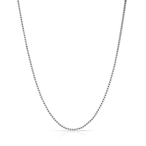 - 14K Yellow or White or Rose/Pink Gold 0.45mm Shiny Classic Box Necklace Chain for Pendant and Charms with Spring Ring Clasp (16