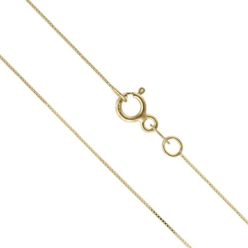 14k Gold Box Chain (14K Thin Solid Yellow Gold 0.5mm Box Chain Necklace - 18 Inches)