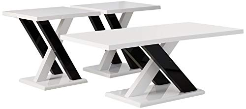 Coaster Home Furnishings 3-piece Occasional Table Set with Cross Supports White and Black Contemporary Living Room Set