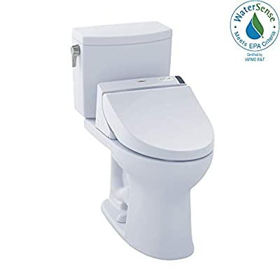 TOTO MW4542034CEFG#01 WASHLET+ Drake II Two-Piece Elongated 1.28 GPF Toilet and WASHLET C100 Bidet Seat, Cotton White