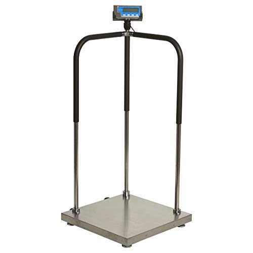 (Brecknell MS140-300 Portable Medical Digital Handrail Scale up to 660 lb. Capacity, Integrated Wheels, Standing Doctor Physician Scale)