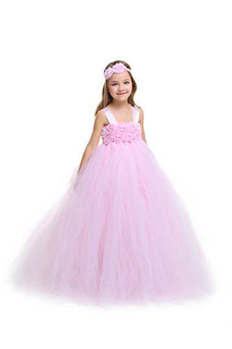 MALIBULICo Baby Girls' Lt. Pink Fluffy Flower Girl Tutu Dress for Wedding and Birthday -