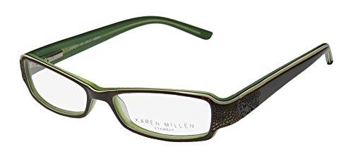 Karen Millen Km0079 Womens/Ladies Designer Full-rim Flexible Hinges Eyeglasses/Eye Glasses (50-14-135, Brown / Ivory / - Shop Millen Karen