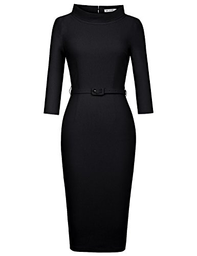 MUXXN Women's 1950s Vintage 3/4 Sleeve Elegant Collar Cocktail Evening Dress (M, Black) - Black 50s Dress