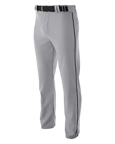 A4 Youth Pro Style Open Bottom Baggy Cut Baseball Pant (Gray_Scarlet) (XL)