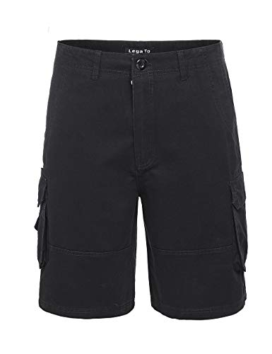 Cargo Slant Pockets Shorts - ega Mens Relaxed Fit Summer Beach Casual Slant Multi Pocket Cargo Shorts(Black/40