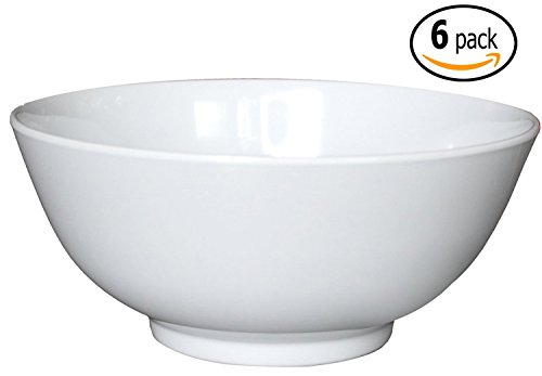 48 Ounce Bowl (Melamine Soup / Rice Bowls with Pan Scraper, 56 Ounce, 8 Inch, Set of 4, White)