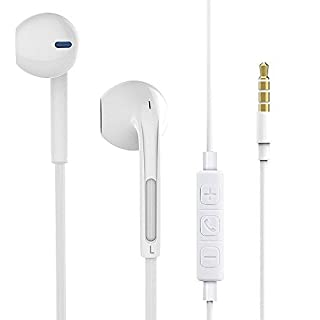 Wired Earphones,Earbuds In-ear Noise-isolating Sport Headphones with Mic & Volume Control Noise Cancelling Light Weight 3.5mm Jack (White)