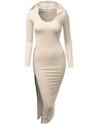 [Doublju Fitted Dress With Sexy Side Zipper Point For Women With Plus Size BEIGE MEDIUM] (Maternity Fancy Dress Uk)