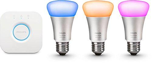 Philips Hue LED Lampe 10 W A60 E27 Starter Set inklusive Bridge, EEK A, 3-er Set, dimmbar, 16 Mio Farben, app-gesteuert 8718696461693