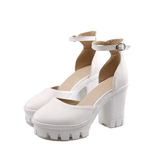 Sandales Couleur Femme à Haut Blanc Talon Boucle GMBLB015263 AgooLar Unie Taq00