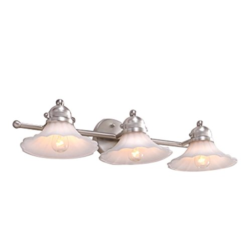 Portfolio Delina 3-Light 5.6-in Brushed Nickel Cone Vanity Light - -  Amazon.com - Portfolio Delina 3-Light 5.6-in Brushed Nickel Cone Vanity Light