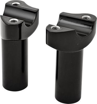 HardDrive Forged Black Straight Handlebar Risers with 3.5in. Rise for Harley Da - One Size