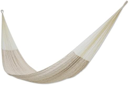 NOVICA Natural Off White Hand Woven Cotton Blend Mayan 1 Person Rope Hammock