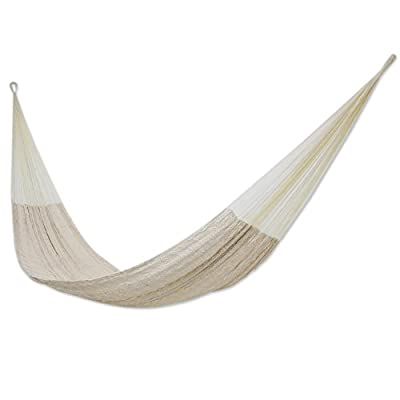 NOVICA Natural Off White Hand Woven Cotton Blend Mayan 1 Person Rope Hammock, Natural Comfort' (Single) - Size: 3.9 ft. W x 13.1' H Authentic: an original NOVICA fair trade product in association with National Geographic. Certified: comes with an official NOVICA Story Card certifying quality & authenticity. - patio-furniture, patio, hammocks - 31ydfzlL3wL. SS400  -