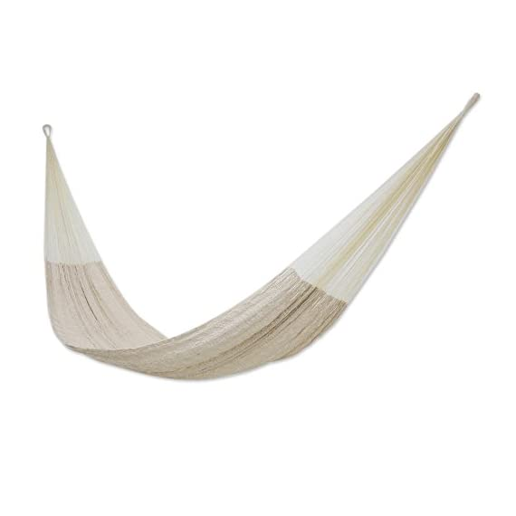 NOVICA Natural Off White Hand Woven Cotton Blend Mayan 1 Person Rope Hammock, Natural Comfort' (Single) - Size: 3.9 ft. W x 13.1' H Authentic: an original NOVICA fair trade product in association with National Geographic. Certified: comes with an official NOVICA Story Card certifying quality & authenticity. - patio-furniture, patio, hammocks - 31ydfzlL3wL. SS570  -