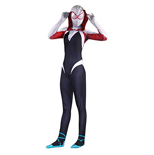 Unisex Lycra Spandex Zentai Halloween Cosplay Costumes Adult/Kids 3D Style (Kids-L White and Black -