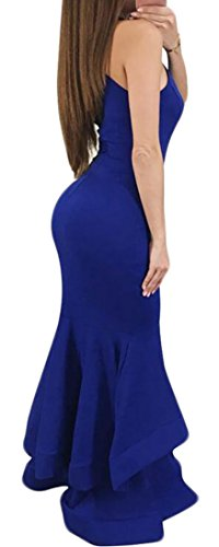 Sleeveless Bodycon Halter Royal Sexy Blue Cromoncent Women's Stretchy Dress Falbala Solid Eq6xwF4tnA